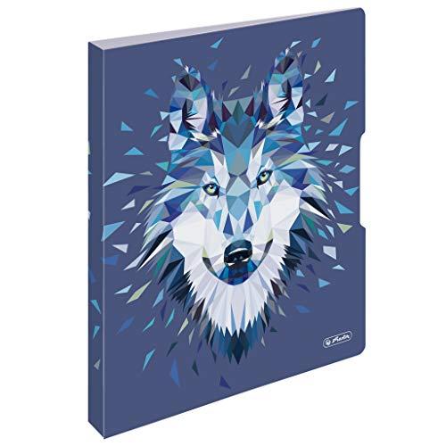 herlitz 50027323 Ringbuch A4, 2 Ringe, 16mm, Motiv: Wild Animals Wolf, 1 Stück