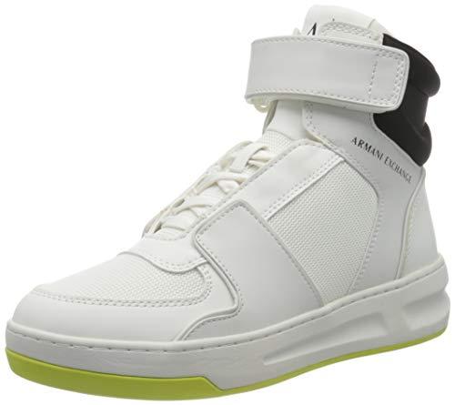 Armani Exchange Herren Stockholm Basket HIGH TOP with Velcro Detail Sneaker, White, 40 EU