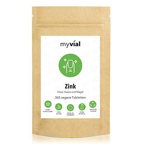 myvial® 365 Zink Tabletten hochdosiert im Jahresvorrat | 25mg elementarem Zink pro Tablette | Premium: Zink-Bisglycinat | Vegan | Ohne Zusätze | Plastikfrei verpackt