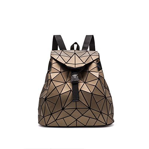 QXbecky Mochila bolso rombo cepillado mate mochila triangular caótica grande mochila para mujer mochila casual marrón 40x35x16cm