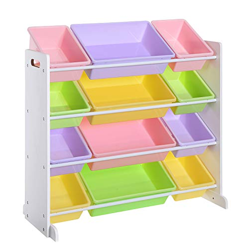 SONGMICS Kinderzimmerregal, Spielzeug-Organizer, Standregal für Kinder, mit 12 Aufbewahrungsboxen aus PP-Kunststoff, Kinderzimmer, Schule, Kindergarten, 86 x 26,5 x 78 cm, Pastellfarben, Weiß GKR04KL