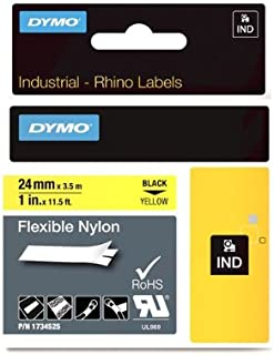 "DYMO Industrial Labels for DYMO Industrial Rhino Label Makers, Black on Yellow, 1"", 1 Roll (1734525)"