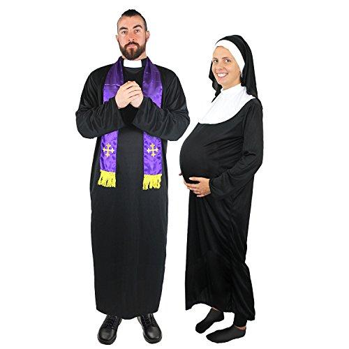 I LOVE FANCY DRESS LTD Priester+Schwangere Nonne=Paare KOSTÜM VERKLEIDUNG=Fasching Karneval Halloween=SÜNDER BISCHOF-Kardinal=JUNGESELLENABSCHIED=Priester-XLarge + Nonne-Large