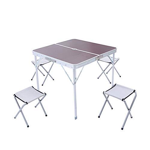 Folding table Aluminium Klapp Picknicktisch Outdoor Klapptisch und Stuhl Kombination mit Regenschirm Loch Design mit Griff Design tragbaren Klapptisch und Stuhl