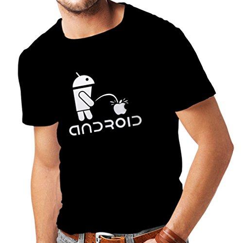 Camisetas Hombre el Divertido Robot y la Manzana - Citas Divertidas, Regalos humorísticos (XXX-Large Negro Fluorescente)