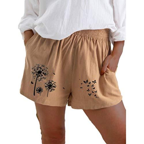 Zestion Pantaloncini Stampati con tarassaco a Vita Alta da Donna Pantaloncini Larghi in Cotone Elasticizzato con Coulisse Allentati 3X-Large
