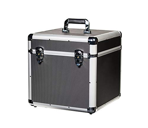 Caja para almacenar discos de vinilo, 245 cm x 30 cm, de ABS y aluminio reforzado, duradera y con cerradura
