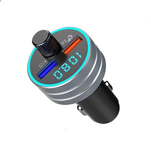 Lebron ray Auto MP3-Player Bluetooth FM-Transmitter Mit QC3.0 Dual-USB-Schnellladung Mit LED-Leuchten Unterstützen TF-Karte, Freisprechen, Sprachübertragung, Musikwiedergabe,Gray