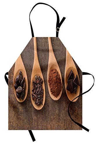 ABAKUHAUS Chocola Keukenschort, Cacao Chocolade op lepels, Unisex Keukenschort met Verstelbare Nekband voor Koken en Tuinieren, Dark Brown Sand Brown