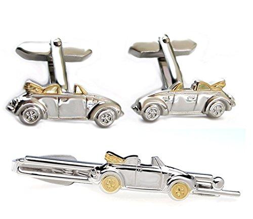 Unbekannt Cabrio Set Krawattennadel + Manschettenknöpfe Auto Fahrzeug Bicolor + Silberboxen