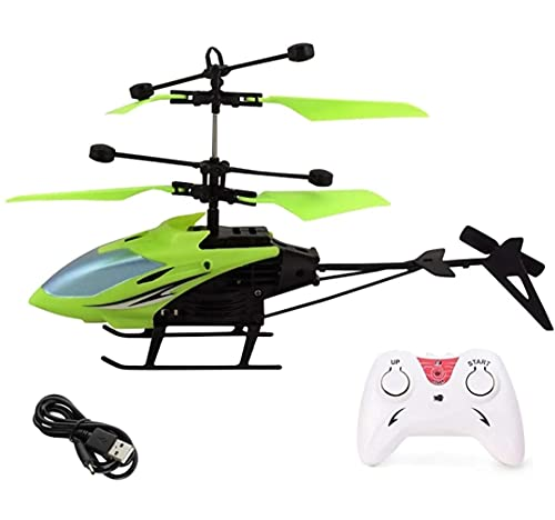 Vikas gift gallery Induction Exceed Remote Control and Hand Sensor Charging Helicopter Toys with 3D Light Toys for Boys Kids Indoor Flying (Multicolour) Colour as per Available
