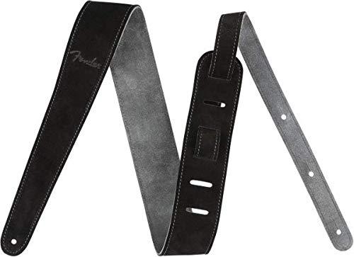 Fender© 'Reversible Suede' Tracolla in pelle scamosciata per chitarra e basso - 5cm Larghezza - Nero & Colore Beige
