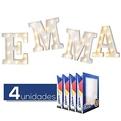 DON LETRA Nombres Españoles de Chicos y Chicas, Letras Luminosas Decorativas con Luces LED, Ideales para Mesa y Mesilla, Pared, Dormitorio Infantil, Fiesta de Cumpleaños, Bodas - Emma