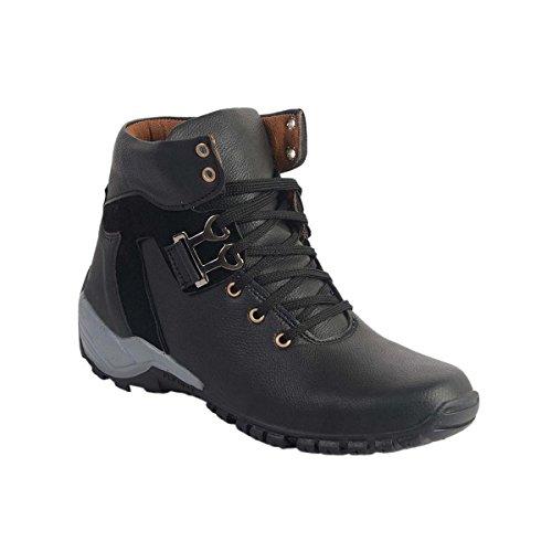 Shoe Island ® Popular Designer Jet Black Leatherette High Ankle Length Casuals for Men, Size 9 UK/India
