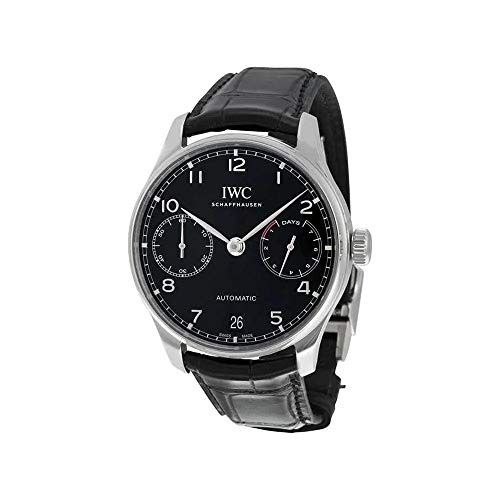 Iwc da uomo 42mm Black Leather Band Steel case Automatic Analog Watch...