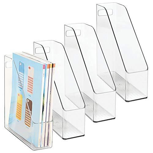 mDesign Organizzatore documenti trasparente set da 4 – raccoglitori ufficio in plastica – organizer scrivania per documenti, giornali, riviste, note, ecc. – comodo & di qualità