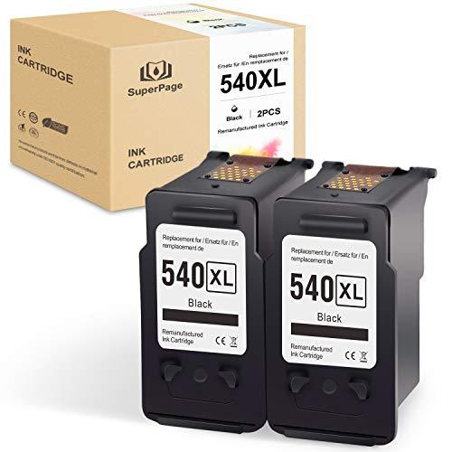Superpage reemplazo para Canon PG-540XL Reciclar Cartuchos de tintan para Canon Pixma MG2150 MG2250 MG3150 MG3250 MG3550 MG4150 MG4250 MX375 MX395 MX435 MX455 MX515 MX525,2Negro