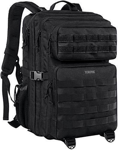 Poulbee Mochila militar grande para hombre, 45 l, mochila táctica MOLLE, mochila de asalto para exteriores, camping, senderismo, caza, viajes, senderismo, color negro Negro L