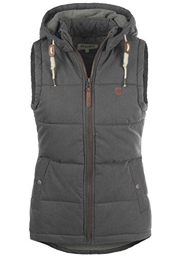 OXMO Lew Damen Weste Steppweste Outdoor Weste mit Kapuze und Stehkragen, Größe:XS, Farbe:Dark Grey (2890)