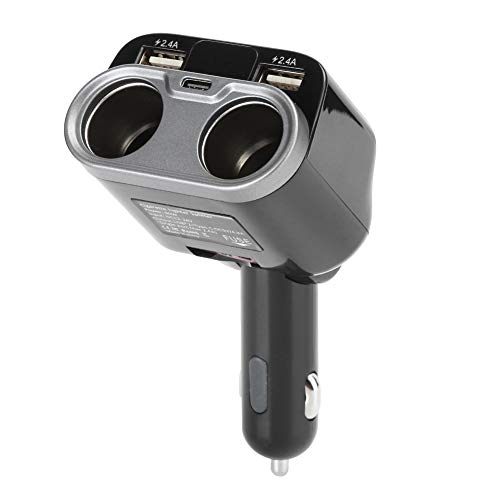 Cuifati Enchufe para Encendedor de Cigarrillos, supercargador para automóvil 5 en 1, Adaptador de Cargador Tipo C, Interruptor Independiente y voltímetro LED(Black)
