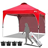 MASTERCANOPY Patio Pop Up Instant shelter Beach Canopy Better Air Circulation Canopy with Wheeled Backpack Carry Bag (6.6x6.6 ft, Red)