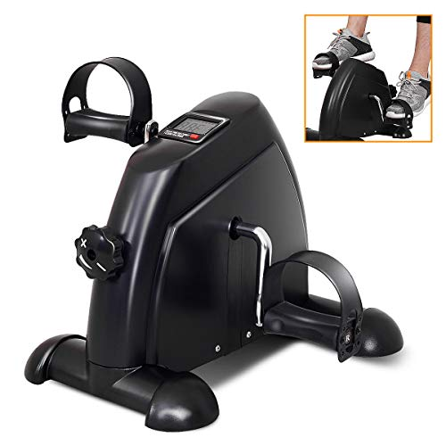 Goplus Pedal Exerciser LCD Display Cycling Fitness Leg Machine Stationary Under Desk Mini Exercise Bike