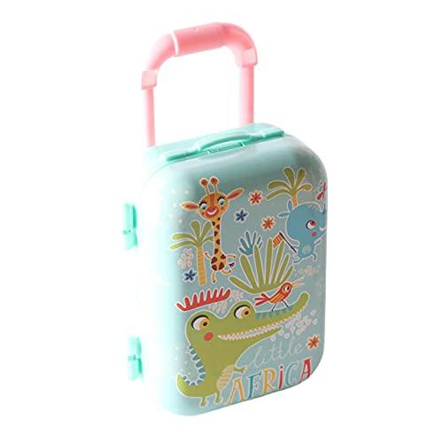Ruby569y Accesorios de casa de muñecas para bricolaje, mini maleta de dibujos animados superficie hecha a mano de moda muñeca casa miniatura equipaje para niños - azul
