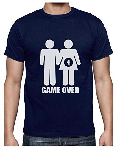 Camiseta para Hombre - Game Over Pregnant - Regalo Divertido para Anuncio de Embarazo Medium Azul Oscuro