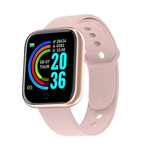 WXX 2020 Reloj Inteligente SmartWatch Hombres Mujeres Presión Arterial Pulsera Inteligente Monitor de Ritmo cardíaco Bluetooth Reloj de la Aptitud for el Uso androide del iOS (Color : Pink)