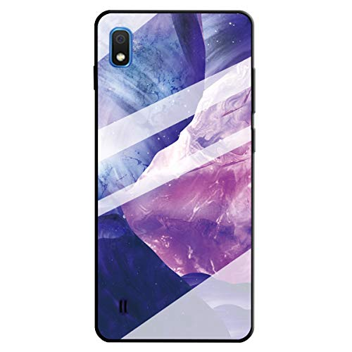 Yobby Kompatibel mit Samsung Galaxy A10/M10 Hülle,Glitzer Kristall Klar Glas Marmor Handyhülle,Ultra Dünn TPU Bumper Glänzend Schutzhülle für Samsung Galaxy A10/M10-Marmor Lila