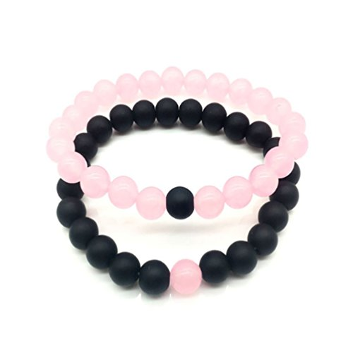 Black Matte Agate & Turquoise His and Hers Bracelets 8mm Sandstone Couple Bracelet Distance Bracelets XIAOLI (Pink crystal stone 2PCS/Set)