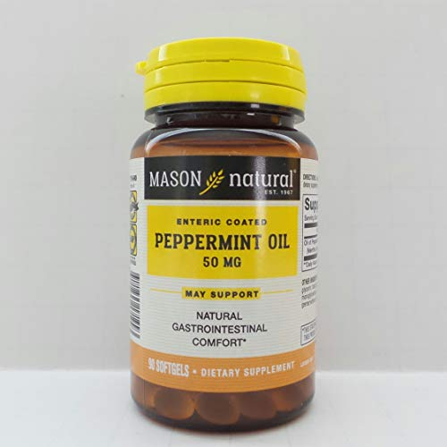 Mason Natural Peppermint Oil Enteric Coated Soft Gels, 50 mg, 90 Count by Mason Natural