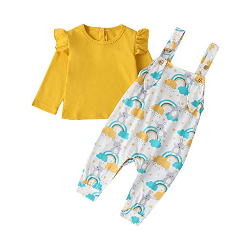 Voberry- Children's solid color frill top + cartoon rabbit print bib suit Newborn Infant Baby Boys Ruffle Tops Cartoon Raabite Overalls Outfits Clothes