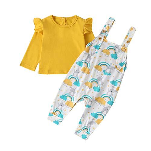 Children's Solid Color Frill Top + Cartoon Rabbit Print Bib Suit Newborn Infant Baby Boys Ruffle Tops Cartoon Raabite Overalls Outfits Clothes