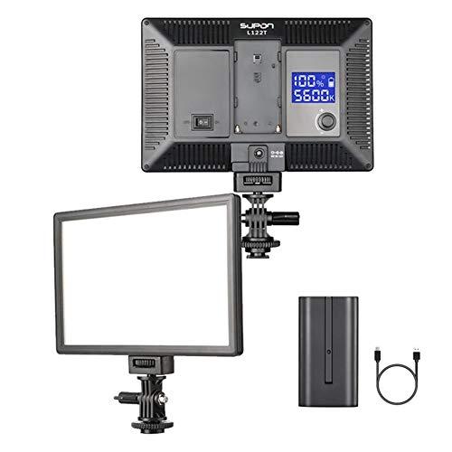 Luz de cámara LED, luz de vídeo con pantalla LCD, regulable, bicolor, 3300 K-5600 K, CRI95 + iluminación más suave para YouTube, grabaciones exteriores, bodas, con fuente de alimentación y batería