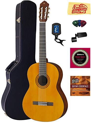 Yamaha C40 Nylon String Acoustic Guitar Bundle with Hardshell Case, Tuner, Instructional DVD, Strings, Pick Card,...