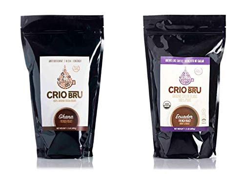 Crio Bru 2 Pack 24 oz French Roast Bundle   Organic Healthy Brewed Cacao Drink   Great Substitute to Herbal Tea and Coffee   99% Caffeine Free Gluten Free Keto Whole-30 Honest Energy (24oz (2 Pack))