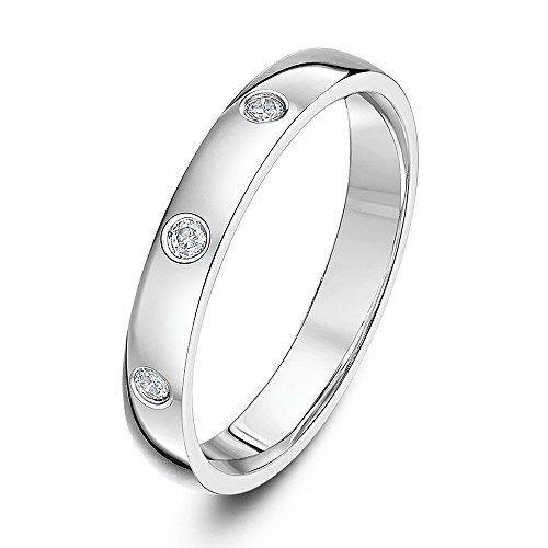 Theia 9ct White Gold Heavy Court 0.06ct Diamond 3mm Wedding Ring - Size Q