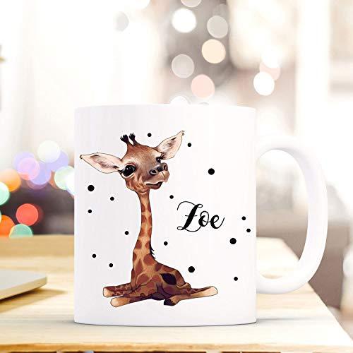 ilka parey wandtattoo-welt Tasse Becher mit Giraffen Baby & Punkte Geschenk mit Tiermotiv Kaffeetasse Giraffentasse mit Namen Wunschnamen Kaffeebecher ts783