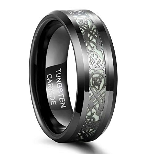 Frank S.Burton 8mm Glow Rings for Men Tungsten Carbide Wedding Band Celtic Dragon Rings Beveled Edge Plated Comfort Fit Size 10.5
