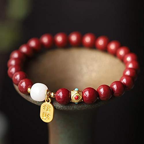 Feng Shui Natural Púrpura Oro Cinnabar Hetian Blanco Jade Beads 18k Accesorios Bricolaje Pulsera Estirada de Cuentas Talisman Prosperidad Dinero Buena Suerte Energía Positiva