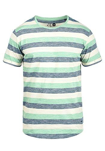 !Solid Thicco Herren T-Shirt Kurzarm Shirt Mit Streifen Und Rundhalsausschnitt 100% Baumwolle, Größe:XL, Farbe:Creme de Menthe (3017)