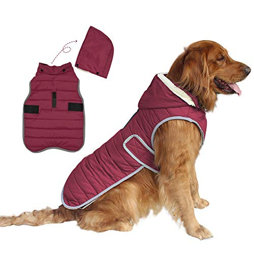 EMUST Dog Winter Jackets, Reflective Small/Medium/Large Dog Coat for Winter, Windproof Fleece French Bulldog Clothes for Dogs, Dog Coats for x-Large Dogs Winter, XL