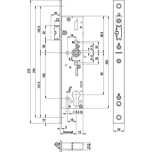 Cerradura de puerta de huida 1910 de 1 flg. Cierre automático, universal, rectangular, DM 40, acero inoxidable.