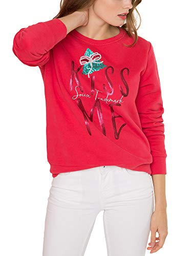 SOCCX Damen Xmas Fun Sweatshirt mit Pailletten-Artwork