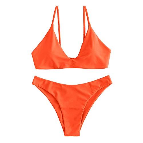 ZAFUL Damen Bikini mit gepolstertem Hochgeschnittenem Bindeband und Zweiteiligem Badeanzug (L, Orange)