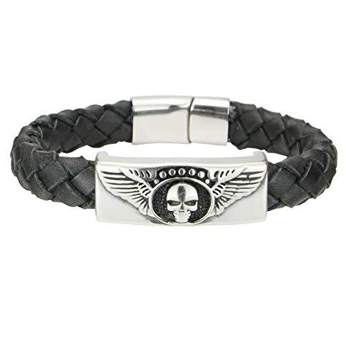 Gold77 Herren-Armband Lederarmband aus oval geflochtenem Leder mit Slider mit Skull Totenkopf + Verschluss aus Edelstahl, Länge:Armband 18cm