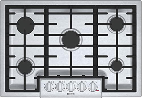 "Bosch 800 series 30"" stainless steel 5 burner gas cooktop"