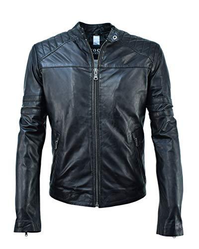 COCO BLACK LABEL since1986 Lederjacke für Männer Bikerjacke Herren Lammleder Coole Lederjacke Patrick, Größe:56, Farbe:Schwarz