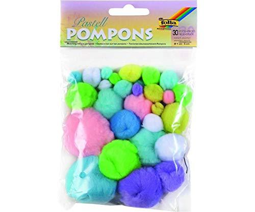 Pompons - 30 Stück - Pastell-Farben, Bastelbedarf, Charme Handtasche, Geburtstag Dekoration, Schlafzimmer Dekor, Tasche Charme, Zubehör, Pom, Folia Bringmann